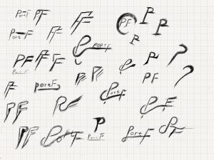 手書きで描かれたロゴの原案